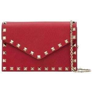 Valentino Rockstud Envelope Pouch with Chain Red